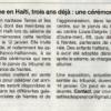 Cérémonie du séisme en Haïti, La presse en parle.